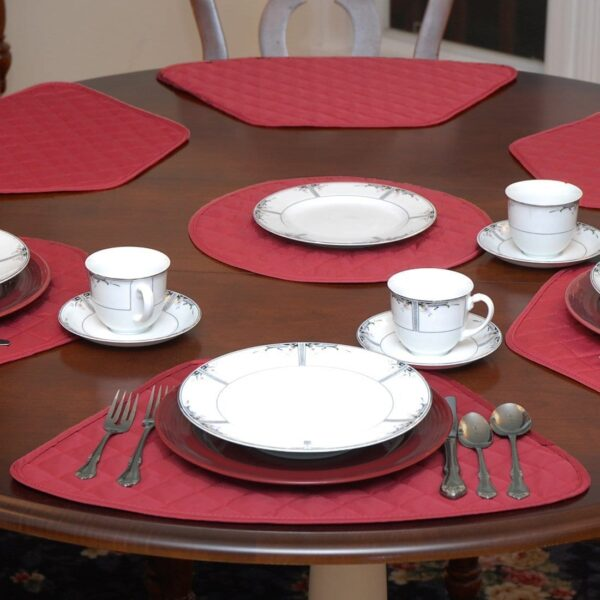 Sweet Pea Linens - Berry Quilted Wedge-Shaped Placemats - Set of Four plus Center Round-Charger (SKU#: RS5-1006-H3) - Table Setting
