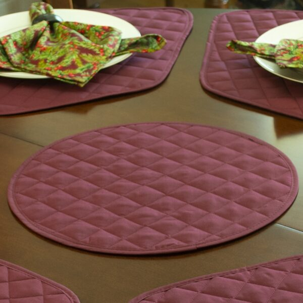 Sweet Pea Linens - Claret Quilted Charger-Center Round Placemat (SKU#: R-1015-H30) - Table Setting