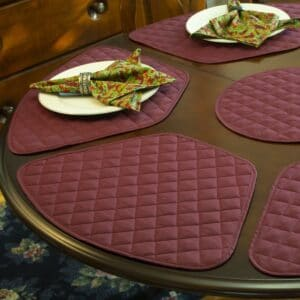Sweet Pea Linens - Claret Quilted Wedge-Shaped Placemats - Set of Two (SKU#: RS2-1006-H30) - Table Setting