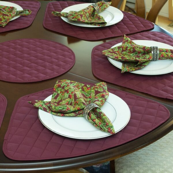 Sweet Pea Linens - Claret Quilted Wedge-Shaped Placemats - Set of Two (SKU#: RS2-1006-H30) - Alternate Table Setting