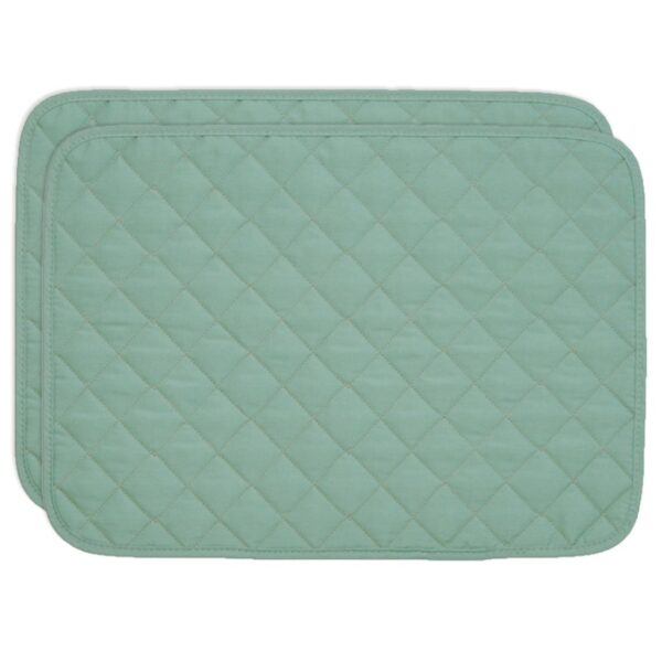 Sweet Pea Linens - Seafoam Green Quilted Rectangle Placemats - Set of Two (SKU#: RS2-1001-H5) - Product Image
