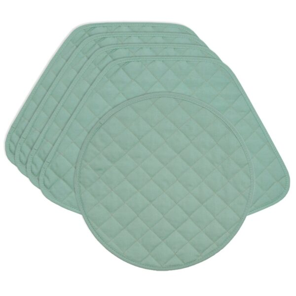 Sweet Pea Linens - Seafoam Green Quilted Wedge-Shaped Placemats - Set of Four plus Center Round-Charger (SKU#: RS5-1006-H5) - Product Image