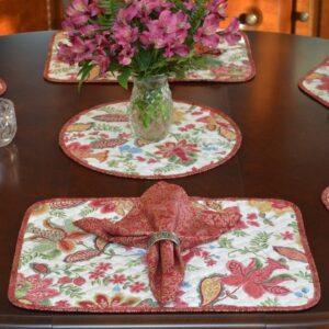 Sweet Pea Linens - Coordinating Mauve Swirl Cloth Napkin (SKU#: R-1010-H80) - Table Setting