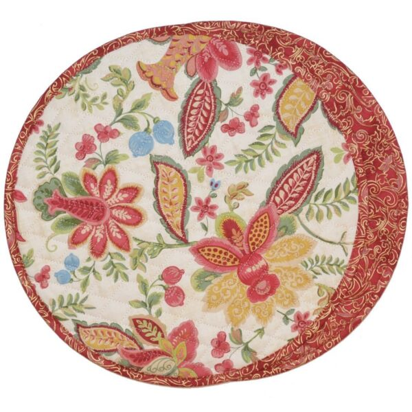 Sweet Pea Linens - Quilted Cream Floral Print & Mauve Charger-Center Round Placemat (SKU#: R-1015-H80) - Product Image