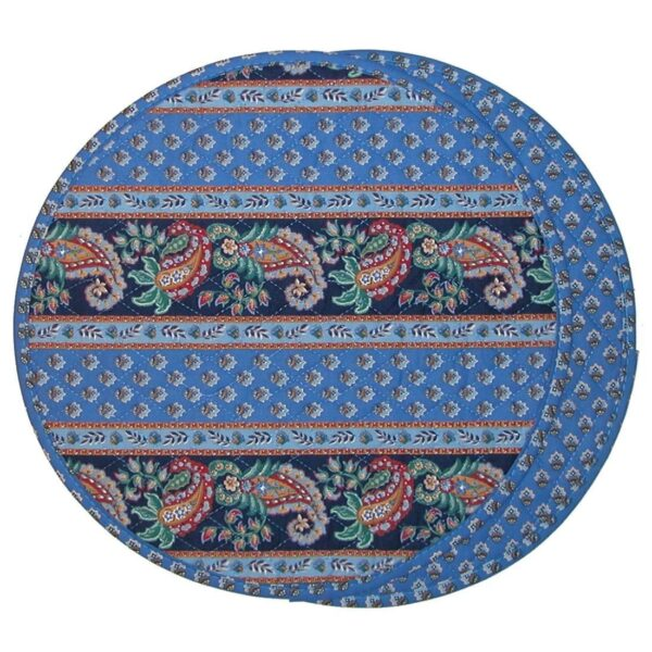 Sweet Pea Linens - Blue Foulard Charger-Center Round Placemat (SKU#: R-1015-J) - Product Image