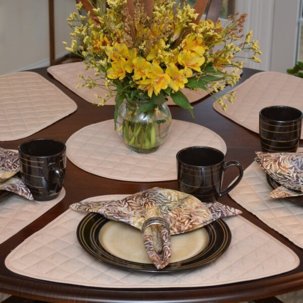 Sweet Pea Linens - Solid Tan Quilted Charger-Center Round Placemat (SKU#: R-1015-J1) - Product Image