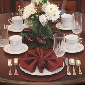 Sweet Pea Linens - Burgundy Wine Pintucked Napkin Ring (SKU#: R-1030-K1) - Table Setting