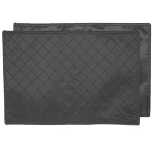 Sweet Pea Linens - Black Taffeta Pintucked Rectangle Placemats - Set of Two (SKU#: RS2-1002-K14) - Product Image