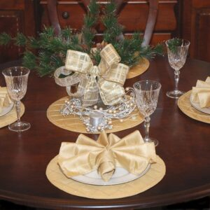 Sweet Pea Linens - Gold Pintucked Charger-Center Round Placemat (SKU#: R-1015-K2) - Table Setting