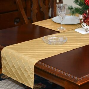 Sweet Pea Linens - Gold Pintucked 72 inch Table Runner (SKU#: R-1024-K2) - Table Setting