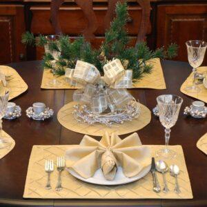 Sweet Pea Linens - Gold Pintucked Napkin Ring (SKU#: R-1030-K2) - Table Setting