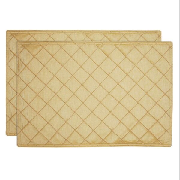 Sweet Pea Linens - Gold Pintucked Rectangle Placemats - Set of Two (SKU#: RS2-1002-K2) - Product Image