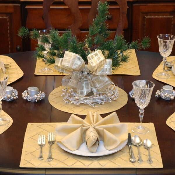 Sweet Pea Linens - Gold Pintucked Rectangle Placemats - Set of Two (SKU#: RS2-1002-K2) - Table Setting