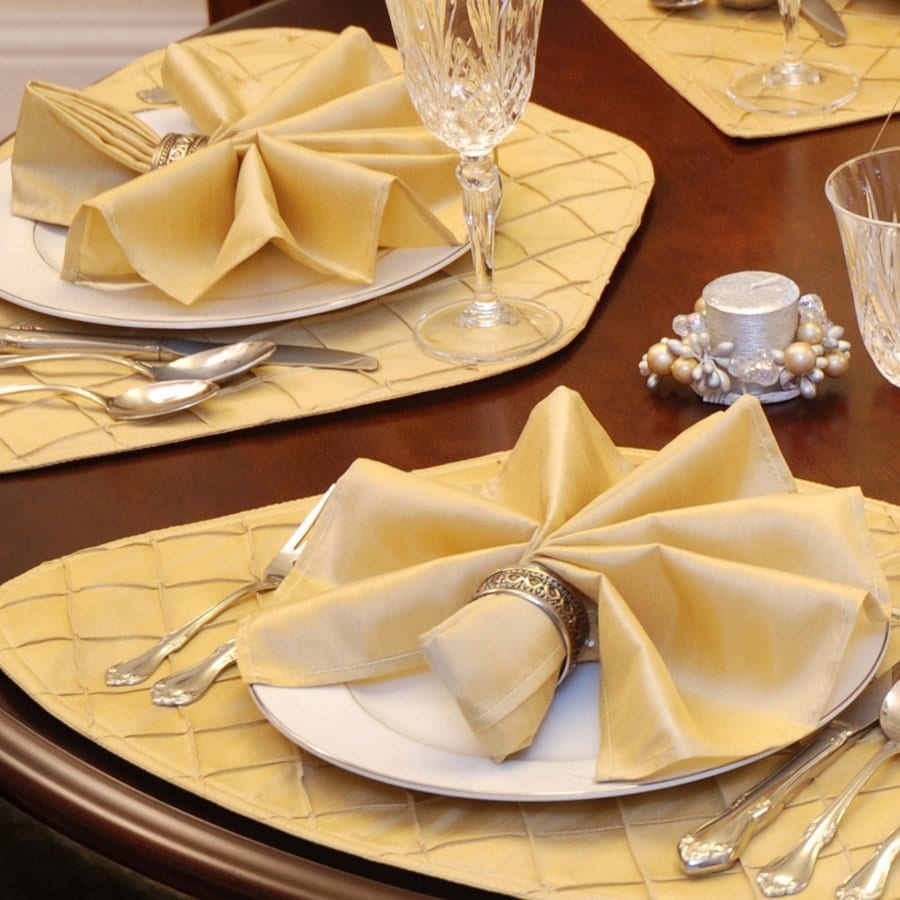 Sweet Pea Linens - Gold Shantung Cloth Napkins - Set of Four (SKU#: RS4-1010-K2) - Table Setting