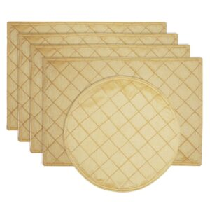 Sweet Pea Linens - Gold Pintucked Rectangle Placemats - Set of Four plus Center Round-Charger (SKU#: RS5-1002-K2) - Product Image
