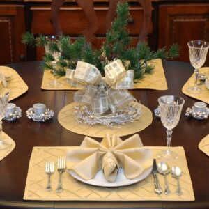Sweet Pea Linens - Gold Pintucked Rectangle Placemats - Set of Four plus Center Round-Charger (SKU#: RS5-1002-K2) - Table Setting