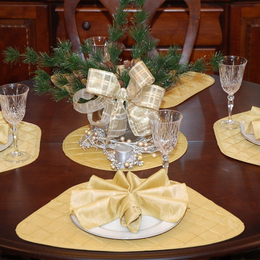 Sweet Pea Linens - Gold Pintucked Wedge-Shaped Placemats - Set of Four plus Center Round-Charger (SKU#: RS5-1006-K2) - Table Setting