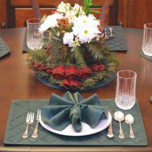 Sweet Pea Linens - Forest Green Shantung Cloth Napkin (SKU#: R-1010-K3) - Table Setting