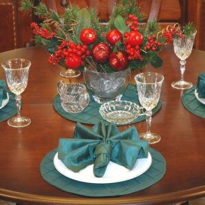 Sweet Pea Linens - Forest Green Pintucked Charger-Center Round Placemat (SKU#: R-1015-K3) - Table Setting