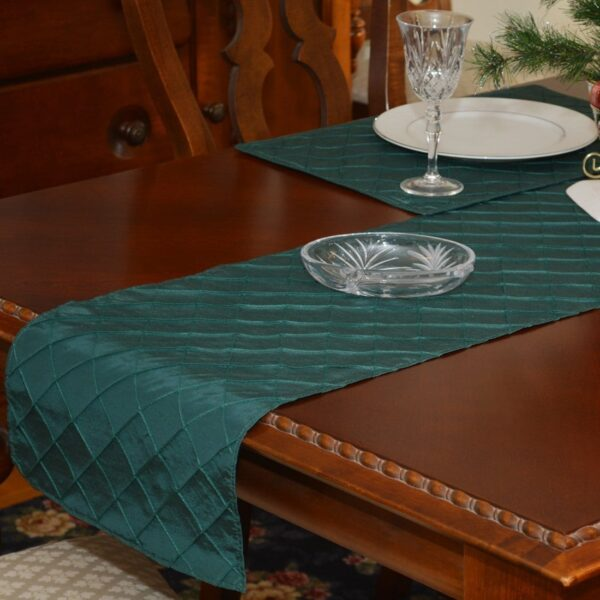 Sweet Pea Linens - Forest Green Shantung 72 inch Table Runner (SKU#: R-1024-K3) - Table Setting