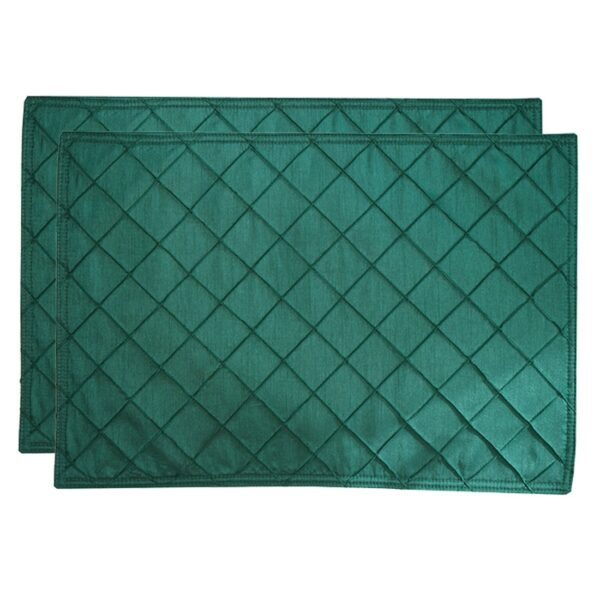 Sweet Pea Linens - Forest Green Pintucked Rectangle Placemats - Set of Two (SKU#: RS2-1002-K3) - Product Image