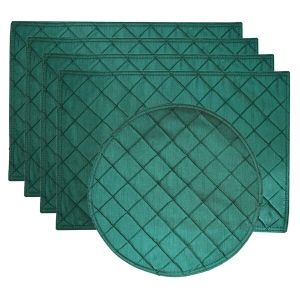 Sweet Pea Linens - Forest Green Pintucked Rectangle Placemats - Set of Four plus Center Round-Charger (SKU#: RS5-1002-K3) - Product Image