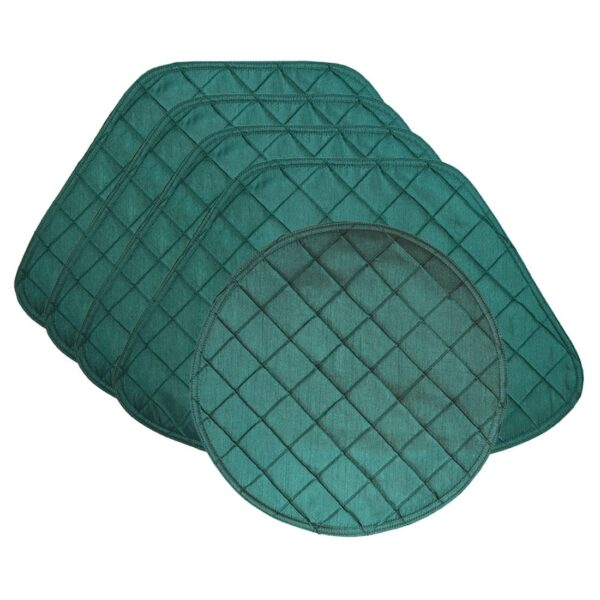 Sweet Pea Linens - Forest Green Pintucked Wedge-Shaped Placemats - Set of Four plus Center Round-Charger (SKU#: RS5-1006-K3) - Product Image