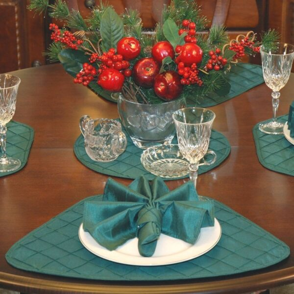 Sweet Pea Linens - Forest Green Pintucked Wedge-Shaped Placemats - Set of Four plus Center Round-Charger (SKU#: RS5-1006-K3) - Table Setting