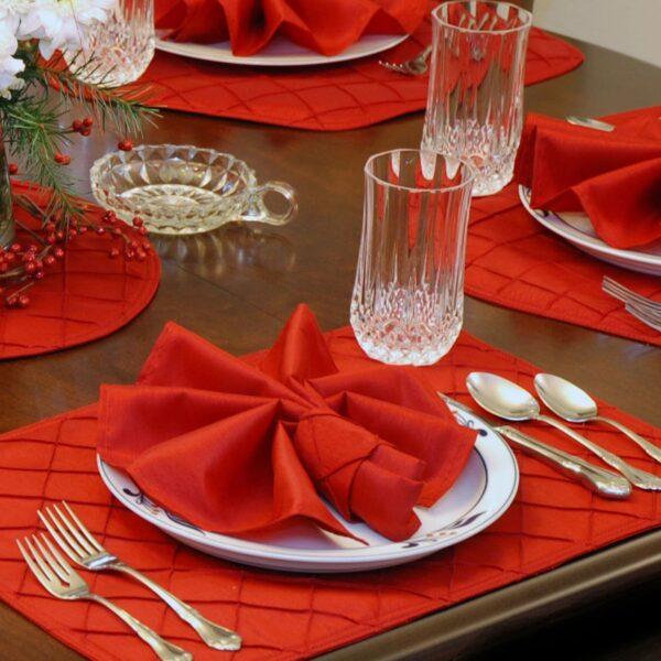 Sweet Pea Linens - Red Shantung Cloth Napkin (SKU#: R-1010-K4) - Table Setting