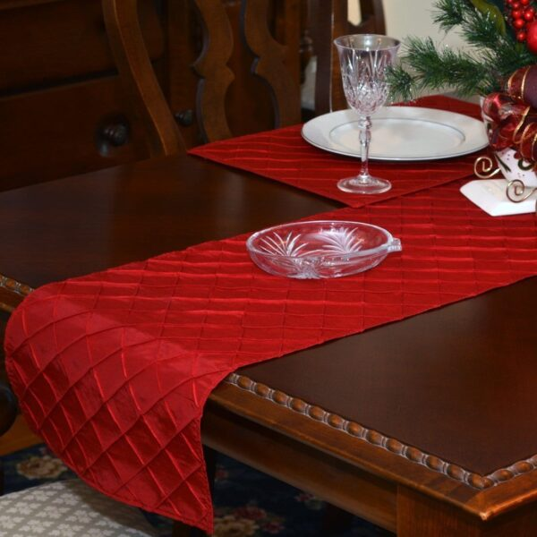 Sweet Pea Linens - Red Pintucked 72 inch Table Runner (SKU#: R-1024-K4) - Table Setting