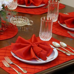 Sweet Pea Linens - Red Pintucked Napkin Ring (SKU#: R-1030-K4) - Table Setting