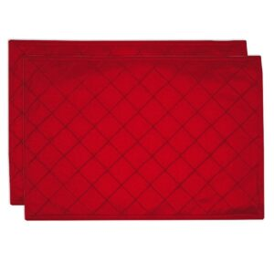 Sweet Pea Linens - Red Pintucked Rectangle Placemats - Set of Two (SKU#: RS2-1002-K4) - Product Image