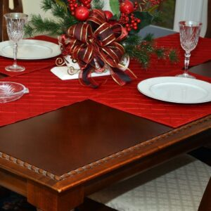 Sweet Pea Linens - Red Pintucked Rectangle Placemats - Set of Two (SKU#: RS2-1002-K4) - Table Setting