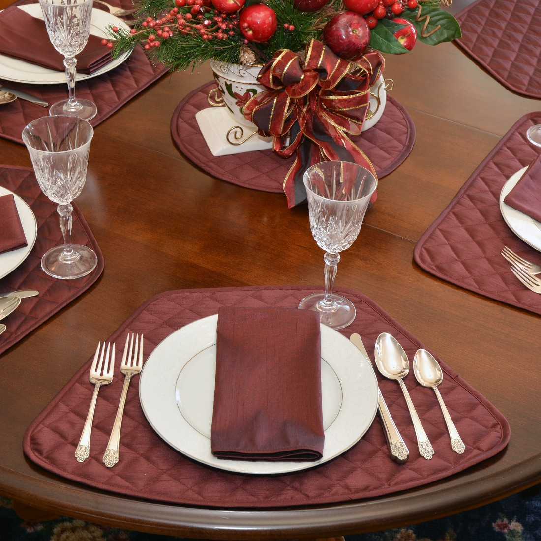 Quilted Burgundy Silky Dupioni Table Linen Collection