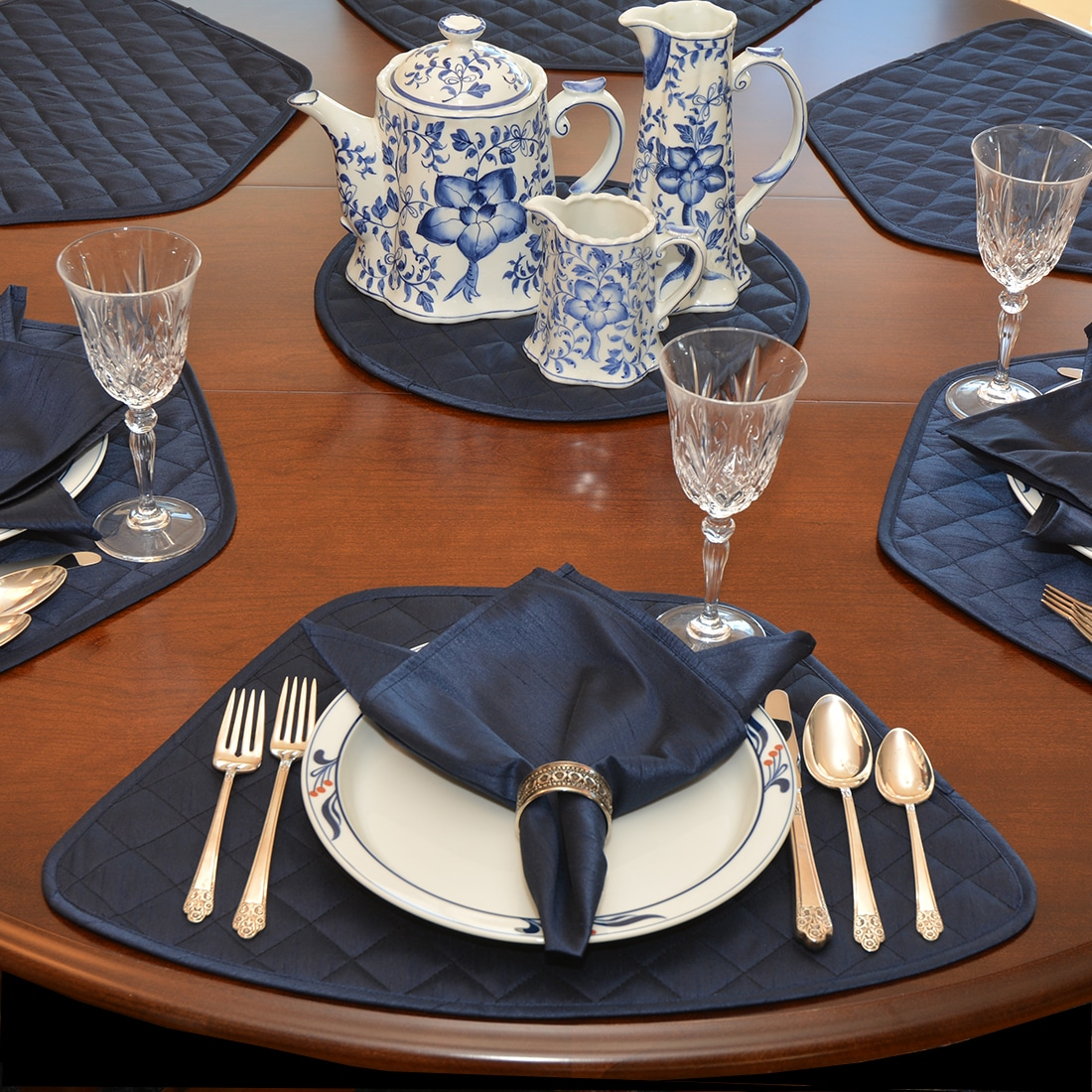 Quilted Navy Blue Silky Dupioni Table Linen Collection
