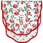 Sweet Pea Linens - Poinsettia & Snowflake Holiday Print 60 inch Table Runner (SKU#: R-1021-K8) - Product Image