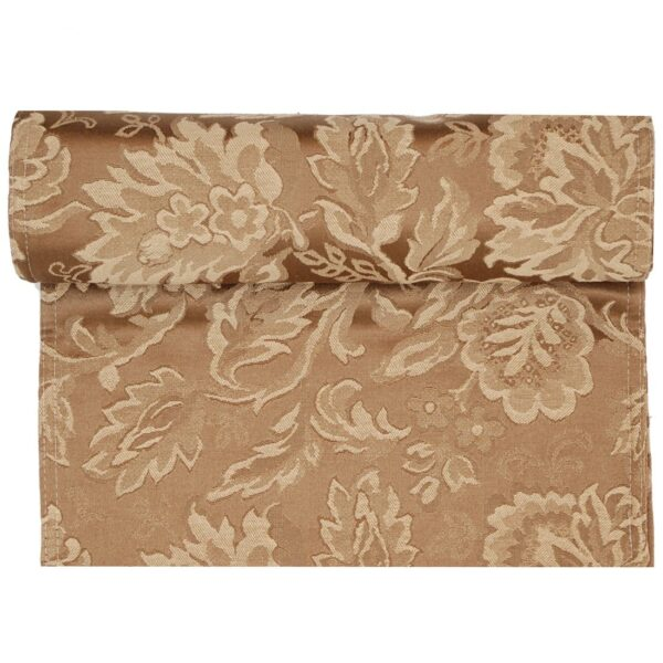 Sweet Pea Linens - Golden Brown Jacquard 72 inch Table Runner (SKU#: R-1024-L15) - Product Image
