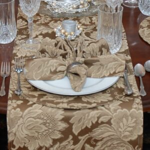 Sweet Pea Linens - Golden Brown Jacquard 72 inch Table Runner (SKU#: R-1024-L15) - Table Setting