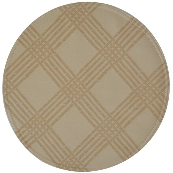 Sweet Pea Linens - Tan Lattice Jacquard Charger-Center Round Placemat (SKU#: R-1015-L21) - Product Image