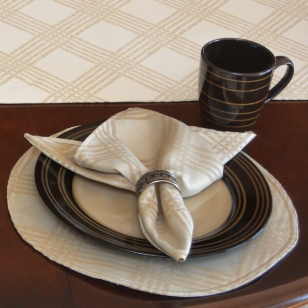 Sweet Pea Linens - Tan Lattice Jacquard Charger-Center Round Placemat (SKU#: R-1015-L21) - Table Setting