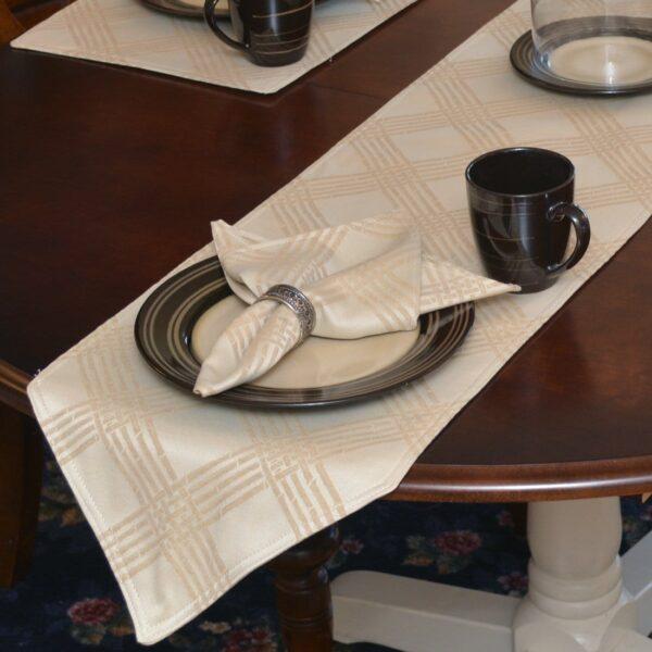 Sweet Pea Linens - Tan Lattice Jacquard 72 inch Table Runner (SKU#: R-1024-L21) - Table Setting