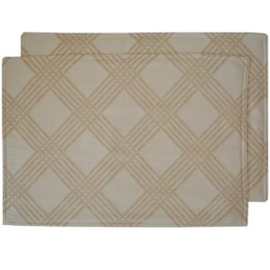 Sweet Pea Linens - Tan Lattice Jacquard Rectangle Placemats - Set of Two (SKU#: RS2-1002-L21) - Product Image