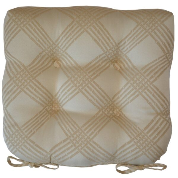 Sweet Pea Linens - Tan Lattice Jacquard Chair Cushion Pads - Set of Two (SKU#: RS2-1014-L21) - Product Image