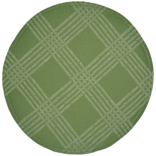 Sweet Pea Linens - Celery Green Lattice Jacquard Charger-Center Round Placemat (SKU#: R-1015-L22) - Product Image