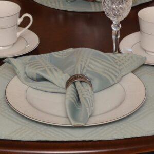 Sweet Pea Linens - Light Blue/Green Lattice Jacquard Cloth Napkin (SKU#: R-1010-L23) - Table Setting