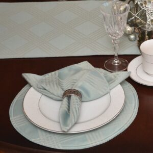 Sweet Pea Linens - Light Blue/Green Lattice Jacquard Charger-Center Round Placemat (SKU#: R-1015-L23) - Table Setting