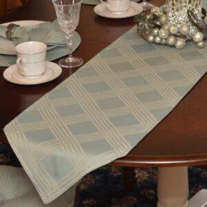 Sweet Pea Linens - Light Blue/Green Lattice Jacquard 72 inch Table Runner (SKU#: R-1024-L23) - Table Setting