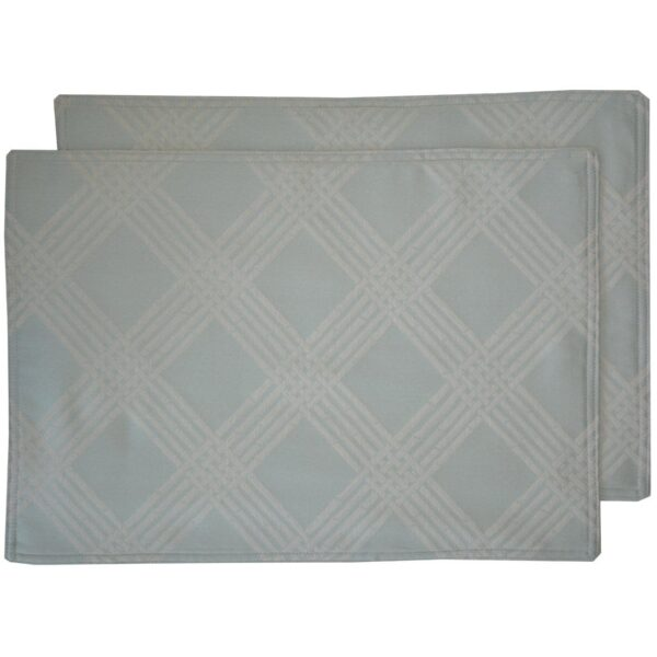 Sweet Pea Linens - Light Blue/Green Lattice Jacquard Rectangle Placemats - Set of Two (SKU#: RS2-1002-L23) - Product Image