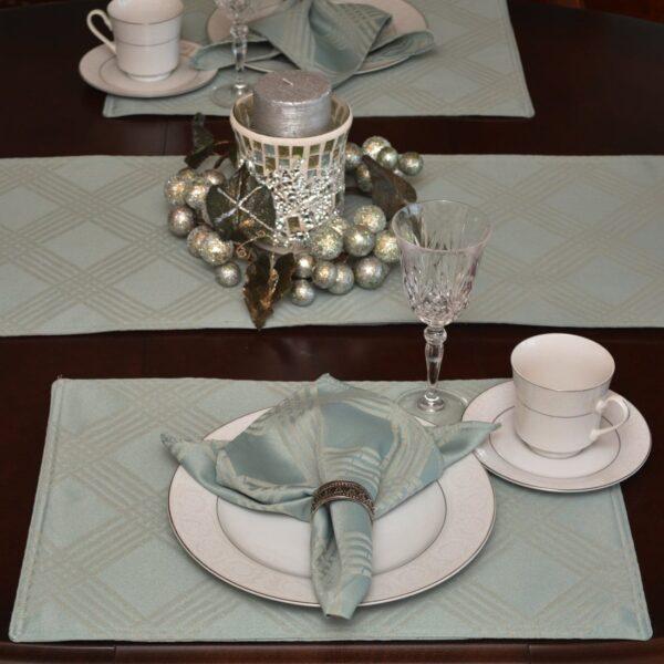 Sweet Pea Linens - Light Blue/Green Lattice Jacquard Rectangle Placemats - Set of Two (SKU#: RS2-1002-L23) - Table Setting
