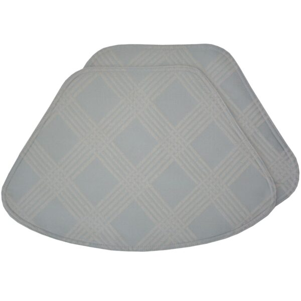 Sweet Pea Linens - Light Blue/Green Lattice Jacquard Wedge-Shaped Placemats - Set of Two (SKU#: RS2-1006-L23) - Product Image